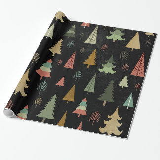 Día de fiesta del navidad - árboles en negro papel de regalo