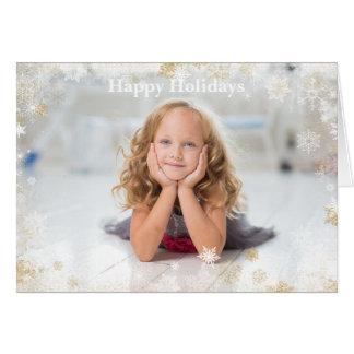 Día de fiesta del navidad - blanco y marco del tarjeta de felicitación
