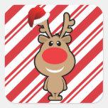 Día de fiesta del navidad divertido santa pegatinas cuadradases personalizadas