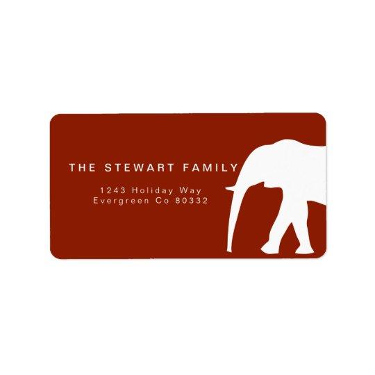 Día de fiesta moderno del elefante blanco el | etiquetas de dirección