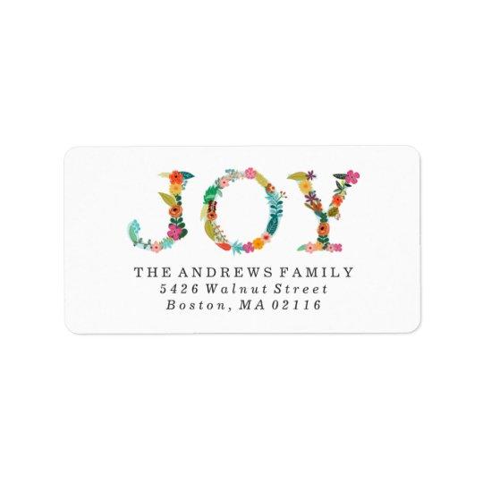 Día de fiesta moderno floral de la alegría el | etiquetas de dirección