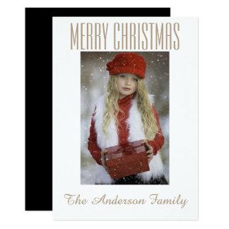 Día de fiesta negro simple del navidad de la foto invitación 12,7 x 17,8 cm
