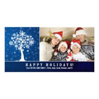 Día de fiesta Photocard de la familia del árbol de Plantilla Para Tarjeta De Foto