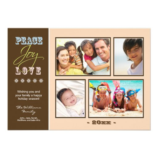 Día de fiesta Photocard (melocotón) de la familia  Invitacion Personalizada