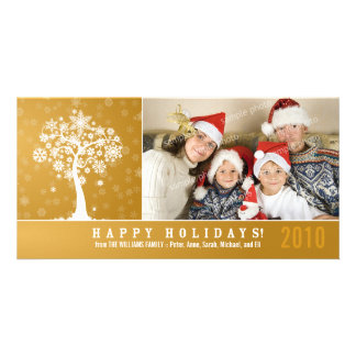 Día de fiesta Photocard (oro) de la familia del ár Tarjeta Fotográfica