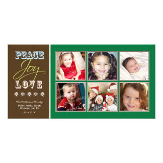 Día de fiesta Photocard (verde) de la familia del  Plantilla Para Tarjeta De Foto