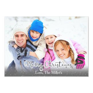 Día de fiesta Photocard w/Snow de la familia de Invitación 12,7 X 17,8 Cm