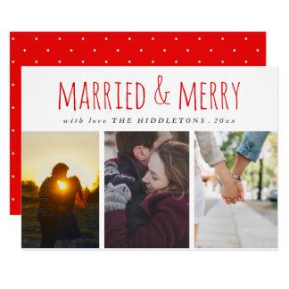 Día de fiesta rojo casado y feliz de la foto de la invitación 12,7 x 17,8 cm