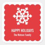 Día de fiesta rojo del navidad de la concha de pegatina cuadradas personalizadas