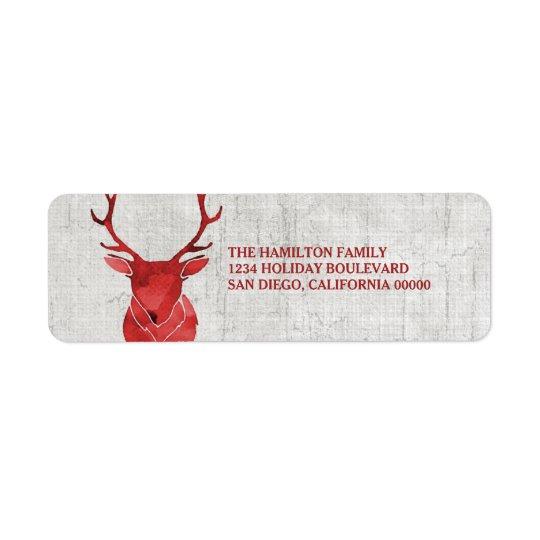 Día de fiesta rústico rojo de los ciervos de la etiqueta de remitente