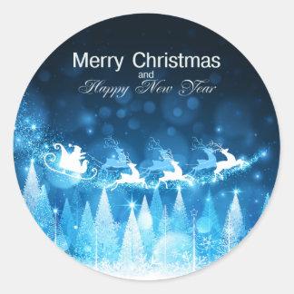 Día de fiesta Santa azul del navidad y trineo Pegatina Redonda