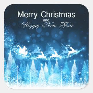 Día de fiesta Santa azul del navidad y trineo Pegatina Cuadrada