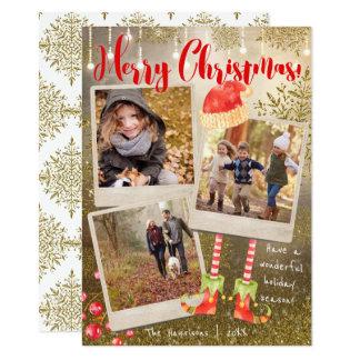 Día de fiesta triple del navidad del collage de la invitación 11,4 x 15,8 cm