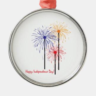 ¡Día de la Independencia feliz! Adorno Redondo Plateado