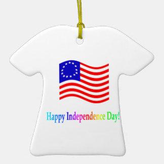 Día de la Independencia feliz Adorno De Cerámica En Forma De Camiseta
