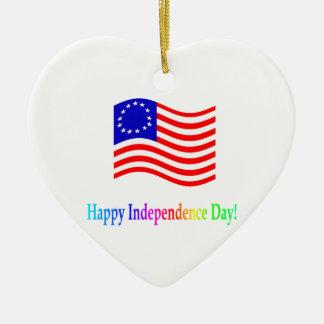 Día de la Independencia feliz Adorno De Cerámica En Forma De Corazón