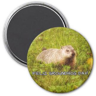 ¡Día de la marmota de Feliz! imán