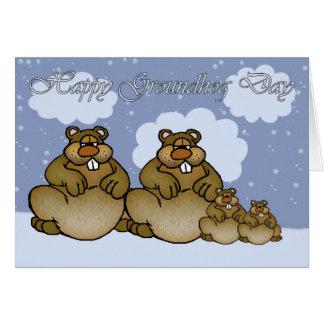 Día de la marmota feliz, familia de Groundhog Tarjeta De Felicitación