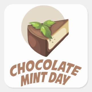 Día de la menta del chocolate - día del aprecio pegatina cuadrada