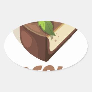 Día de la menta del chocolate - día del aprecio pegatina ovalada