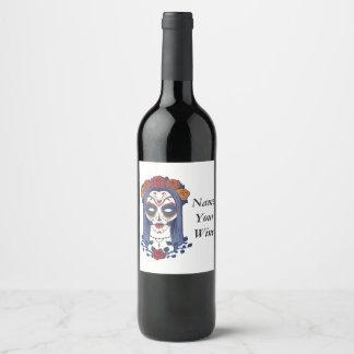Día de la mujer de los muertos etiqueta para botella de vino