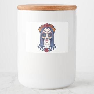 Día de la mujer de los muertos etiqueta para comida