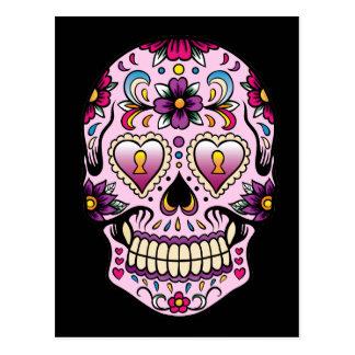 Día de la postal muerta del rosa del cráneo del