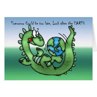 Día de la Tierra feliz con el dinosaurio Tarjeta De Felicitación