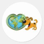 Día de la Tierra y calabaza Etiqueta Redonda