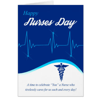 Día de las enfermeras con el cardiograma y el tarjeta de felicitación