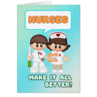 Día de las enfermeras con la tarjeta de