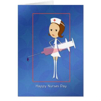 Día de las enfermeras con la tarjeta de la jeringu