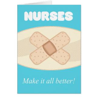 Día de las enfermeras con la tirita - tarjeta de