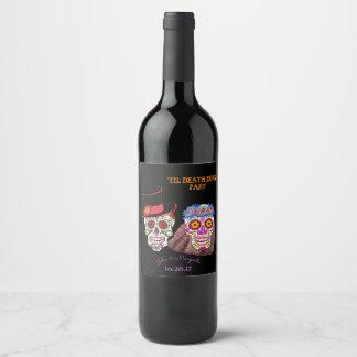 Día de las etiquetas muertas de la botella de vino