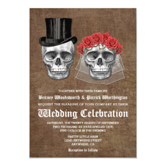 Día de las invitaciones muertas del boda de los invitación 12,7 x 17,8 cm