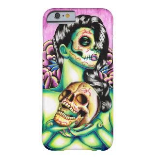Día de las memorias del chica muerto del cráneo funda para iPhone 6 barely there