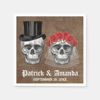 Día de las servilletas muertas del boda del gótico servilletas desechables