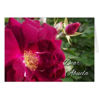 Día de los abuelos para Abuela, el rosa rojo y el Tarjeta De Felicitación