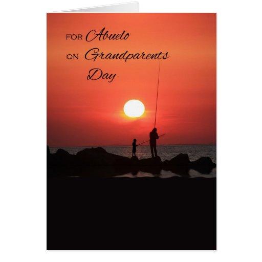 Día de los abuelos para Abuelo, pescando en la pue Tarjetón