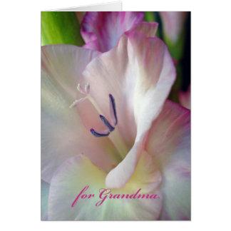 Día de los abuelos para la abuela, foto rosada del tarjeta de felicitación