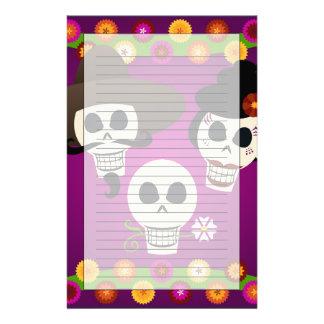 Día de los cráneos muertos papeleria de diseño