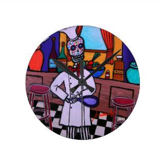 Dia de los Muertos Chef Reloj Redondo Mediano
