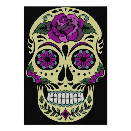 Día de los muertos con color de rosa púrpura invitacion personalizada