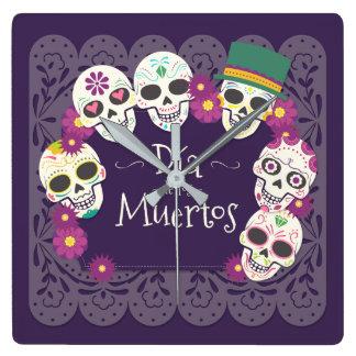 Dia de los Muertos Day de las máscaras muertas del Reloj Cuadrado