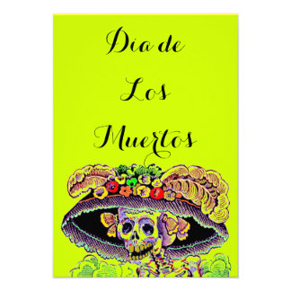 Dia de Los Muertos Day del Catrina muerto invita
