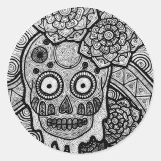 Dia de Los Muertos Pegatina Redonda