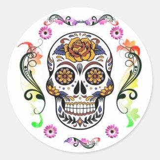 Día de los muertos - pegatina floral del cráneo