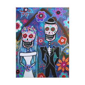 DIA DE LOS MUERTOS WEDDING LIENZO ENVUELTO PARA GALERÍAS