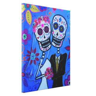 Dia de los Muertos Wedding por Prisarts Impresión En Tela