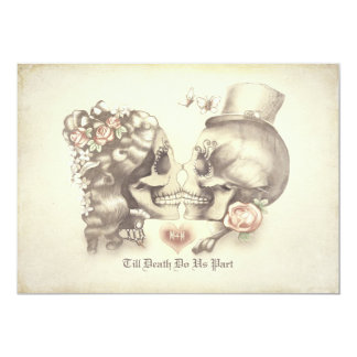 Día de los pares del cráneo de la ducha muerta de invitación 12,7 x 17,8 cm